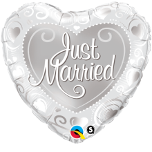 "18"" Just Married Hearts Silver Foil Balloon - Pkg"