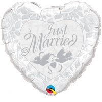 "36"" Just Married Pearl White & Silver Foil Balloon"