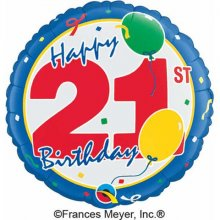 "18"" 21st Birthday Foil Balloon - Pkg"