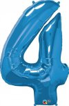 "34"" Blue Number 4 Foil Balloon - Pkg"