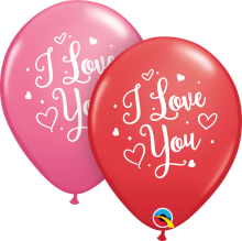 "11"" I Love You Hearts Script Latex Balloons - 50ct"