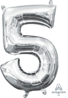 "16"" Silver Number 5 Air-Fill Foil Balloon"
