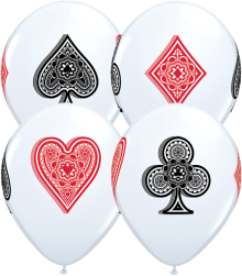 "11"" Card Suits Casino Latex Balloons - 50ct"
