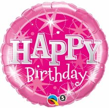 "18"" Birthday Sparkle Pink Foil Balloon - Pkg"
