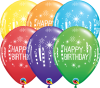 "11"" Birthday Candles & Starbursts Latex Balloons - 50ct"