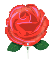 "14"" Single Red Rose Air-Fill Shape Foil Balloon"
