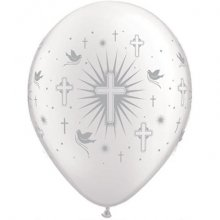 "11"" Cross & Dove w/ Silver Ink Latex Balloons - 50ct"