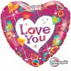 "18"" Love You Vibrant Hearts Holographic Foil Balloon - Pkg"