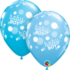 "11"" Baby Boy Blue Dots-A-Round Latex Balloons - 50ct"