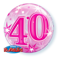 "22"" #40 Pink Starburst Sparkle Bubble Balloon"