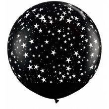 3ft Stars-A-Round Onyx Black Latex Balloons - 2ct