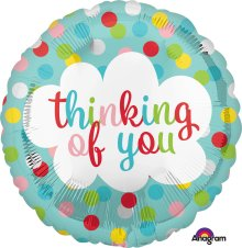 "18"" Thinking of You Dots Foil Balloon - Pkg"