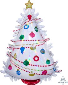 "35"" x 24"" Iridescent Christmas Tree Holographic Balloon - Pkg"