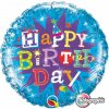 "18"" Birthday Typography Blue Holographic Foil Balloon - Pkg"