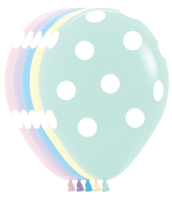 "11"" Pastel Matte Polka Dots Assorted Latex Balloons - 50ct"