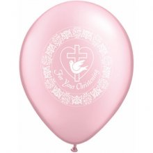 "11"" For Your Christening Dove Pearl Pink Latex Balloons - 50ct"