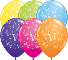 "11"" Butterflies-A-Round Assorted Latex Balloons - 50ct"