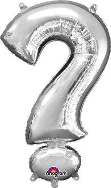 "16"" Silver Question Mark (?) Air-Fill Foil Balloon"
