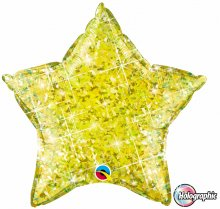 "20"" Holographic Jewel Yellow Star Foil Balloon"