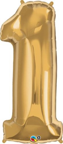 "34"" Gold Number 1 Foil Balloon - Pkg"