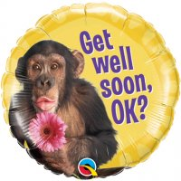 "18"" Get Well Chimp With Flower Foil Balloon - Pkg"