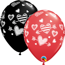 "11"" Patterned Hearts & Arrows Latex Balloons - 50ct"