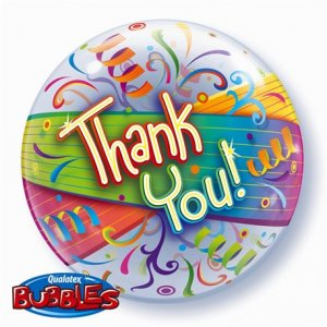 "22"" Thank You Streamers Bubble Balloon"
