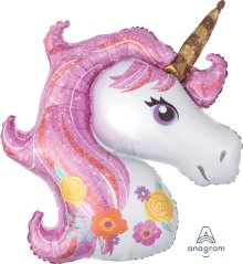 "33"" x 29"" Pink Magical Unicorn SuperShape Foil Balloon - Pkg"
