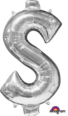 "34"" Silver Dollar Sign ($) SuperShape Foil Balloon"