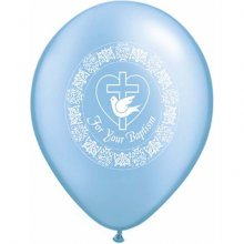 "11"" For Your Baptisim Dove Pearl Azure Latex Balloons - 50ct"