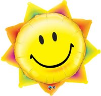 "35"" Sunshine Smile Face Shape Foil Balloon - Pkg"