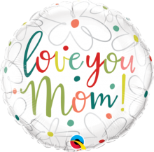 "18"" Love You Mom Scribble Flowers Foil Balloon"