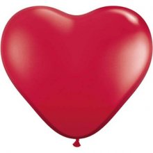 3ft Ruby Red Heart Latex Balloons - 2ct