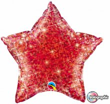 "20"" Holographic Jewel Red Star Foil Balloon"