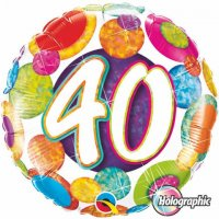 "18"" #40 Big Dots & Glitz Holographic Foil Balloon - Pkg"