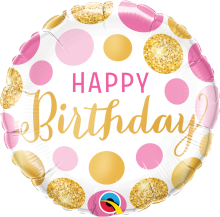 "18"" Birthday Pink & Gold Dots Foil Balloon - Pkg"