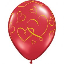 "11"" Romantic Hearts with Gold Ink Latex Balloons - 50ct"