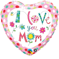 "18"" Rachel Ellen - I Love You Mom Foil Balloon - Pkg"