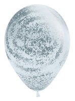 "11"" Graffiti White with Metallic Silver Ink Latex Balloons -50ct"