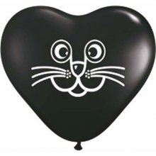 "6"" Cat Face Black Heart Latex Balloons - 100ct"