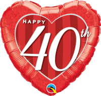 "18"" Happy 40th Damask Heart Foil Balloon - Pkg"