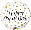 "18"" Happy Anniversary Gold Dots Foil Balloon - Pkg"