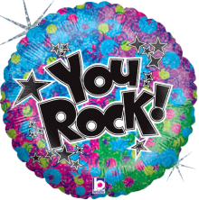 "18"" You Rock! Holographic Foil Balloon - Pkg"