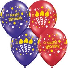 "11"" Birthday Lit Candles Latex Balloons - 50ct"