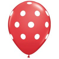"11"" Big Polka Dots Red Latex Balloons - 50ct"