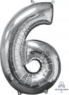 "26"" x 17"" Silver Number 6 Mid-Size Foil Balloon"