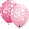 "11"" Baby Girl Pink Dots-A-Round Latex Balloons - 50ct"