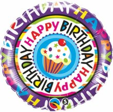 "18"" Birthday Repeat Cupcake Foil Balloon - Pkg"