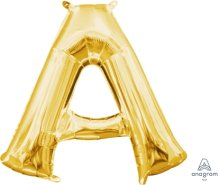 "16"" Gold Letter A Air-Fill Foil Balloon"