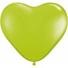"6"" Lime Green Heart Latex Balloons - 100ct"